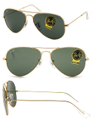 Ray Ban Aviators 3025 Gold Metal Frame w/Crystal Green Lenses